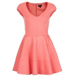 Topshop Pink V Front Skater Dress